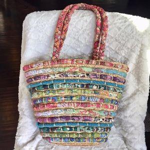 Capelli Straworld Straw and Fabric Tote Bag